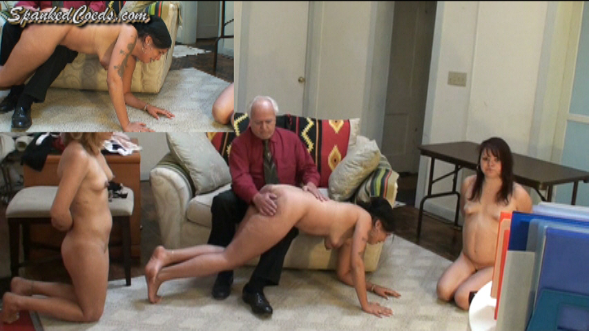 Girl gets spanked nude